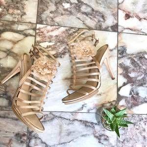 BCBG MaxAzria Rose Gold Strap Heels